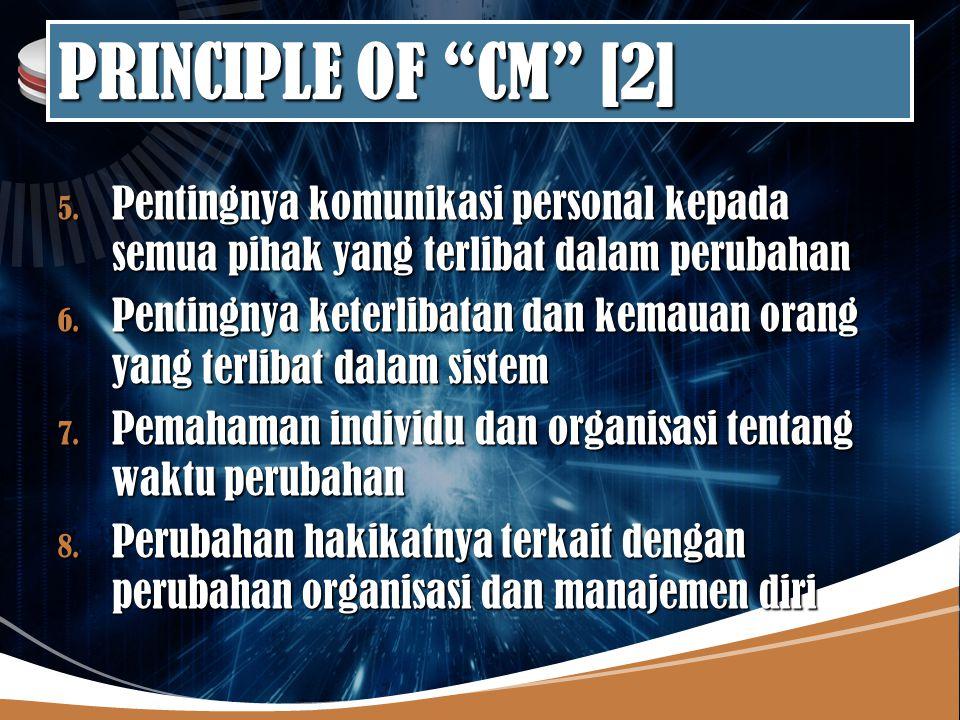 PRINCIPLE OF CM [2] Pentingnya komunikasi personal kepada semua pihak yang terlibat dalam perubahan.